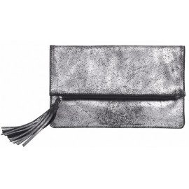 Folding Clutch Silver-Blackwith TasselLeather Used look