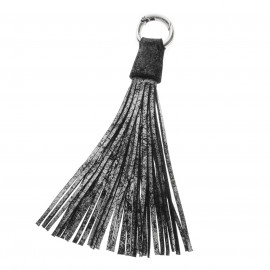 Tassel 30cm Silver-BlackbrLeather Used look