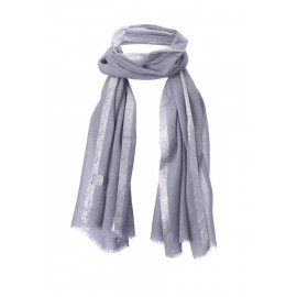 Scarf with Lurex-Border Silbergrau Wool