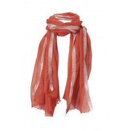 Scarf with Lurex-Border Orange Wool