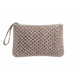 Makrame Cosmetic Bag Used look, Silver-Sand