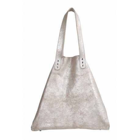 Beach Bag medium Silver-Sand with Press-Botton Leather Used look