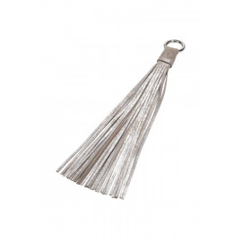 Tassel 20cm Silver-Sand Leather Used look