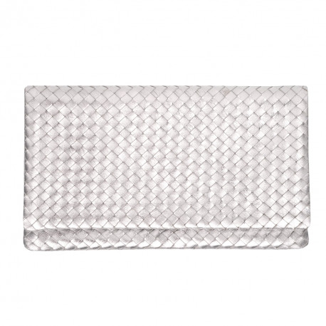 Clutch New Nappa Woven silver