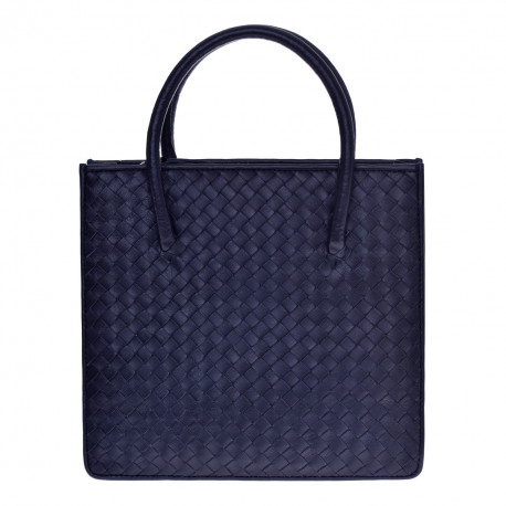 Square Bag Nappa Woven Navy-blue