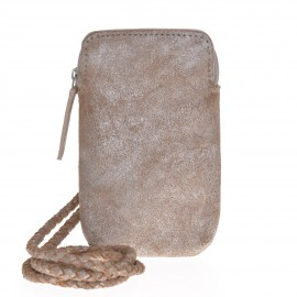 Mobile pouch silver-beige