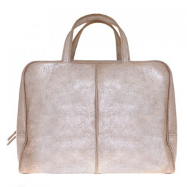 Travel Bag Silver-Sand Leather Used look