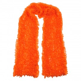 Scarf Ruffle orange, Viscose Georgette