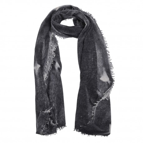 Luxury scarf Tiedye, 100 % Cashmere.  grey - black