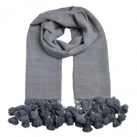 Luxury scarf Pompon, 100 % Cashmere.  grey