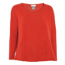Kaschmirpullover, V-Neck, orange