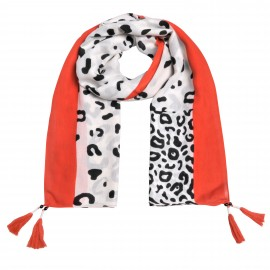 Animal Scarf Tassel orange-camel-offwhite