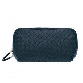 Cosmetic New small Nappa Woven navy-blue